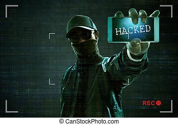 pirate informatique, mobile, tenant téléphone