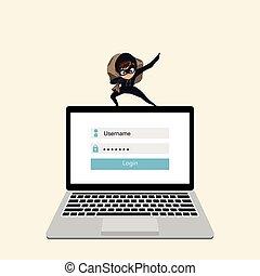 pirate informatique, ordinateur portable, données, steals