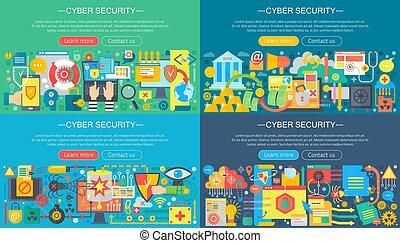 pirate informatique, plat, école, concept, protection, service, set., icônes, items., cyber, attaque, informatique, conception, collection, concepts, sécurité, données, nuage, vecteur