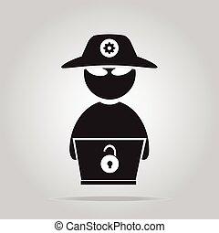 pirate informatique, plat, style, ordinateur portable, icône