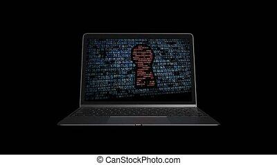 pirate informatique, protéger, chiffrement, attacks., informatique, 72, ton