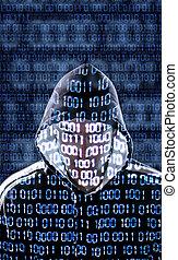 pirate informatique, regarder, appareil photo, directement