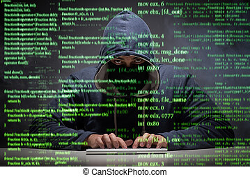 pirate informatique, sécurité, concept, données, jeune
