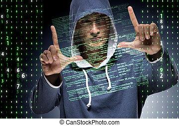 pirate informatique, sécurité, concept, jeune, cyber