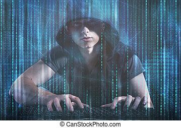 pirate informatique, sécurité, concept, jeune, numérique