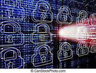 pirate informatique, serrure, attaque, fond