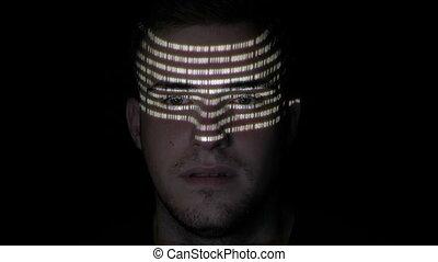 pirate informatique, sien, multiple, figure, écran, mâle jeune, reflété, textes, quoique, avertissement, adulte, numérique, portrait, lecture, données