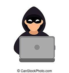 pirate informatique, silhouette, couleur, ordinateur portable
