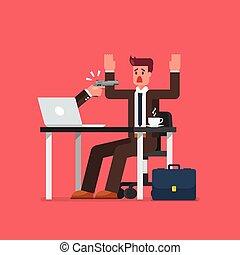 pirate informatique, tenue, fusil, pointage, homme affaires