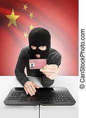 pirate informatique, tenue, -, main, drapeau, république, ...
