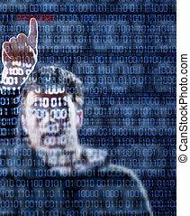 pirate informatique, trouvé, mot passe, juste
