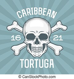 Pirate insignia concept. Caribbean tortuga island vector t-shirt design blue background. Jolly Roger with crossbones logo template. Poison icon illustration.