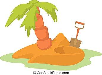 Pirate island icon, cartoon style