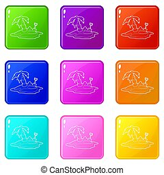 Pirate island icons set 9 color collection