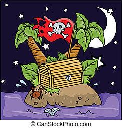 Drawing Art of Cartoon Pirate Treasure Island at Night Vector Illustration