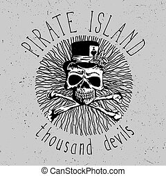 Pirate Island Vintage Font Poster with skull in the centre...