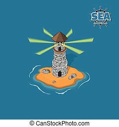 Pirate island with lighthouse on a blue background