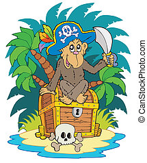 Pirate island with monkey - vector illustration.