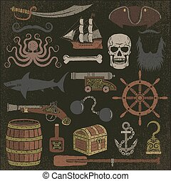 pirate items color - Set of colored pirated items with a...