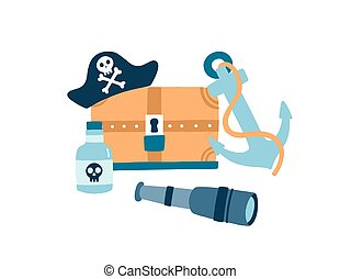 Pirate items flat vector illustration. Pirate hat with skull and crossed bones emblem. Wooden treasure chest. Anchor, glass bottle of rum and spyglass on white background. Symbols of piracy.