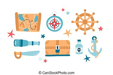 Pirate items flat vector illustrations set. Anchor, spyglass, saber, steering wheel isolated color pack. Wooden treasure chest. Childish quest map on white background. Symbols of piracy.