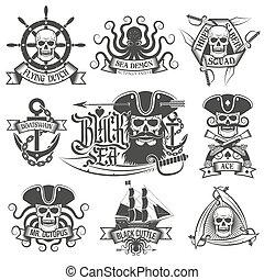 Pirate items - Pirate tattoo set. Unique pirate logos, ...