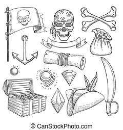 Pirate items. Ship sea adventure elements treasure chest cross star map nautical symbols vector pirate weapons