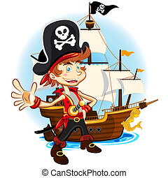 Pirate Kid and His Big War Ship - An Illustration Of Pirate...