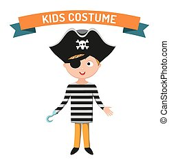 Pirate kid costume isolated vector illustration. Kids party...