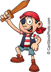 Pirate kid holding a wooden sword. Vector clip art...