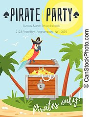 Pirate kid party poster template