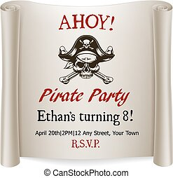 Pirate Kids Birthday Party Invite Template