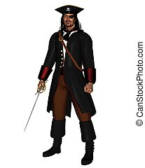 Pirate King in leather coat with hat and eye patch, 3d...