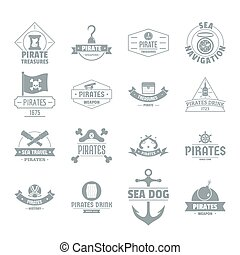 Pirate logo icons set, simple style