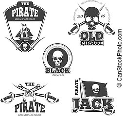 Pirate logo, labels and badges. Vintage vector collection