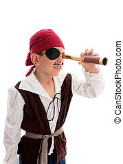 Pirate looking through scope - A young boy pirate looking...