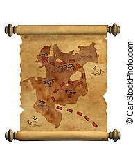 Pirate map. A way to treasure