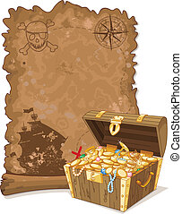Pirate Map and Chest - Pirate scroll map and chest full of ...