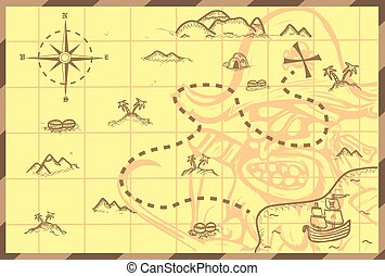 Pirate map - Illustration of a pirate map concept. Editable...