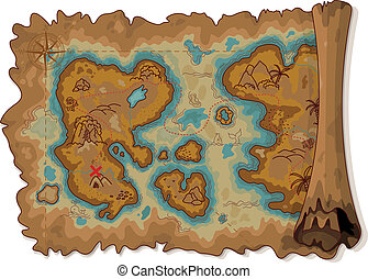 Pirate Map - Illustration of pirate scroll map