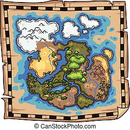 Pirate map. Vector clip art illustration. All in a single ...