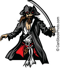 Pirate Mascot Standing with Sword a - Pirate Captain holding...