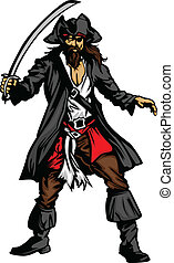 Pirate Mascot Standing with Sword - Pirate Captain holding a...