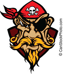Pirate Mascot with Bandana Cartoon - Cartoon Vector Image of...