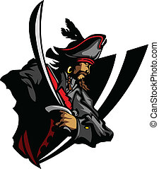 Pirate Mascot with Sword and Hat Gr - Pirate Captain holding...