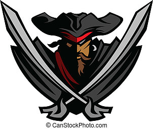 Pirate Captain holding two swords and wearing hat with bandanna Graphic Vector Image