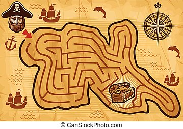 Pirate maze for kids with map