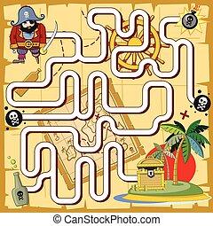 Pirate maze, labyrinth game for preschool children. Vector...