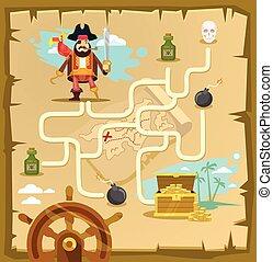 Pirate maze. Labyrinth game
