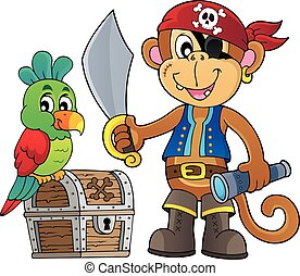 Pirate monkey illustration.